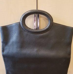 Barney's black leather Handbag tote made in Italy